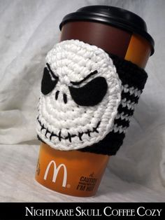Jack Skellington Coffee Cozy for the Nightmare Before Christmas fans! but to fit my tim hortons cup Crochet Coffee Cozy, Crochet Cozy, Crochet Gifts, Coffee Cup Cozy, Coffee Creamer, Iced Coffee, Coffee Girl, Coffee Latte, Espresso Coffee