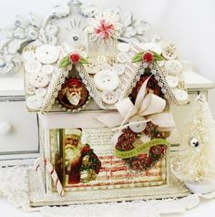Shabby Christmas Cottage by lilybeanpaperie on Etsy