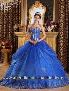 Corsage Sissi Kleid Blaues Ballkleid Weites Abendkleid
