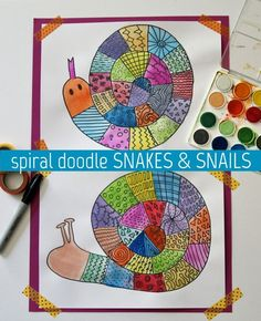 These colorful doodle snakes and snail drawings start with a simple spiral, then bright watercolor paints are added to bring them to life!