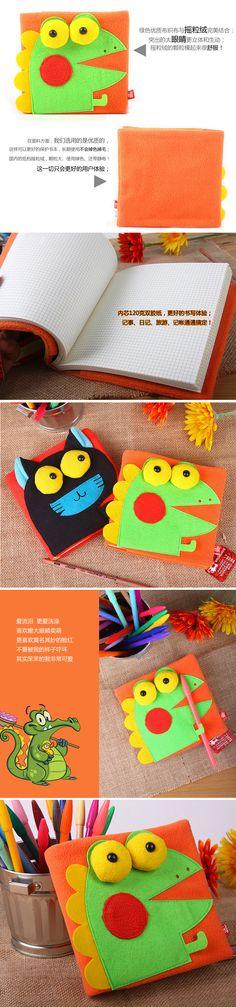 【顽创意】呆呆鳄绒面记事本 学生日记本小笔记本子可爱韩国文具-tmall.com天猫