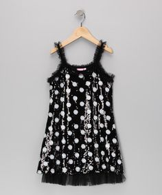 Take a look at this Black Daredevil Polka Dot Dress - Toddler & Girls by Lipstik Girls on #zulily today!