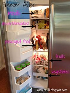 Fridge organization for a side by side - she has links to many other ideas for a side by side fridge.