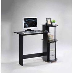 Contemporary Computer Desk in Black and Grey Finish