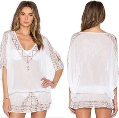 Saida De Praia Beach Towel Bathing Suit Cover Ups Chiffon Beach Wear Embroidery Shirt Saidas De Praia Serviette De Plage
