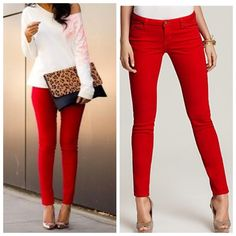 Red Skinny Jeans Jeggings Size S M L So pretty for Spring!!  Red skinny jean Jeggings, 5 pockets, belt loops, button and fly zipper, 68% Cotton/27% Polyester/5% Spandex.  Size Small, Medium, or Large.  Arriving Wednesday/Shipping Thursday!  No Trades, Price Firm unless Bundled.  BUNDLE 3 OR MORE ITEMS FOR 15 % OFF. Boutique Pants Leggings