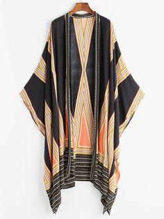Geo Print Kimono -SheIn(Sheinside)