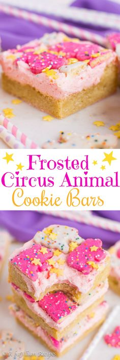 Frosted Circus Animal Cookie Bars (collage) (Pink Bake Goods)