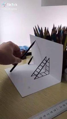 Cool Pencil Drawings, Art Drawings Sketches Simple, Easy Drawings, Cool Paper Crafts, Paper Crafts Origami, Instruções Origami, Diy Crafts Hacks, Craft Videos, Diy Art
