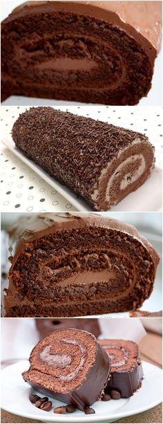 ROCAMBOLE DE CHOCOLATE, A GAROTADA ADORA E EU TAMBÉM!! VEJA AQUI>>>Para fazer esta receita de rocambole, comece pela massa: separe as gemas das claras e, numa tigela à parte, coloque a farinha, o cacau e o fermento peneirados. #receita#bolo#torta#doce#sobremesa#aniversario#pudim#mousse#pave#Cheesecake#chocolate#confeitaria Chocolate Roll, Different Cakes, Flan, Cinnamon Rolls, Sweet Recipes, Banana Bread, Deserts, Food And Drink, Favorite Recipes