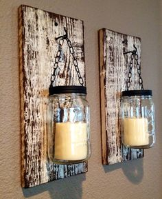Large mason jar barn wood candle holders by Thesalvagednail