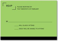 with the matching RSVP card.  Very snazzy.