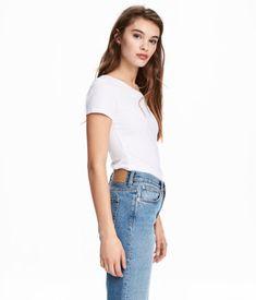Jersey Top | White | WOMEN | H&M US