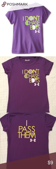 "🎀 Toddler Girls UNDER ARMOUR Shirt - 4T Purple Under Armour shirt in size 4T. ""I Don't Chase Boys"" printed on the front and ""I Pass Them"" on the back in yellow, green and white letters. 100% polyester. Gently used and in great condition. No stains or holes. 🚭 home. Under Armour Shirts & Tops Tees - Short Sleeve"