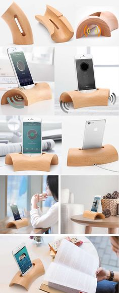Wooden Speaker Sound Amplifier iPhone SmartPhone Charging Station Stand Dock Mount Holder Charge Cord Cable Organizer With Pen Holder for iPhone 77 Plus Smartphone, Wood Projects, Woodworking Projects, Wood Crafts, Diy And Crafts, Wooden Speakers, Pen Holders, Wood Pen Holder, Wood Design