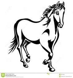 silhouette running horse | The horse is running. Black-and-white drawing. Silhouette.