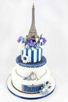 Paris by Flour and Fondant Paris Themed Cakes, Paris Cakes, Beautiful Wedding Cakes, Beautiful Cakes, Amazing Cakes, Tour Eiffel, Fondant Cakes, Cupcake Cakes, Cupcakes