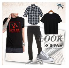 """Romwe"" by anela-memic ❤ liked on Polyvore featuring Hollister Co., Converse and Styli-Style"