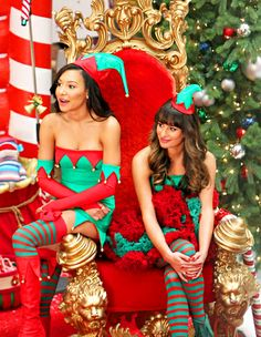 Naya Rivera and Lea Michele film holiday scenes for Glee.