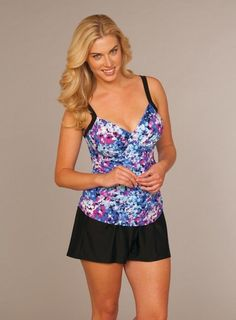 3af1302be6 Delta Burke® Falling Petals Tankini and Solid Swim Shorts   deltaburkeswimwear Plus Swimwear