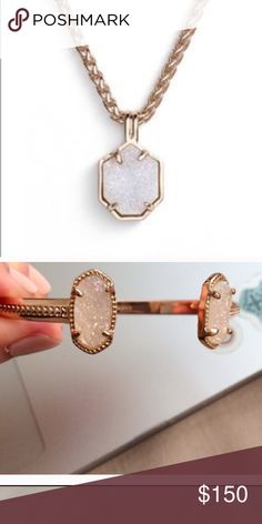 🛍 BUNDLE 🛍 NWT (2) Kendra Scott This bundle is ON HOLD.  NWT - Kendra Scott iridescent drusy and rose gold pendant necklace and iridescent study and gold cuff bracelet. Kendra Scott Jewelry
