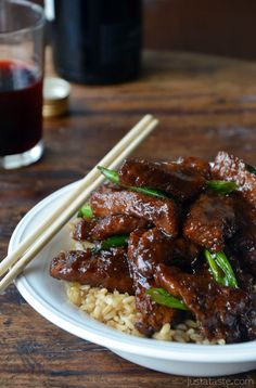 mongolian beef-- I used 1/8 tsp ground ginger instead of fresh (I didn't have the fresh stuff) WOW this was absolutely amazing! A nice sweet soy flavor. Made 8-12-13