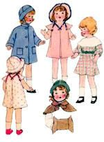 """Dolls clothes pattern from the 1930's for composition dolls.  Pattern is available in the 14"""" size.  See website for purchase information."""