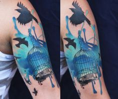 The right color ink can make even a seemingly mundane tattoo pop right off of the skin. Check out these tattoos featuring vivid blue ink.   Advertisement     This impressive 3D flower tattoo has incredible detail.   Advertisement     This tattoo by James Kern is based off of art by Alex Grey.   Advertisement     This tattoo of birds escaping their cage is byIvana Belakova.  Advertisement     Realistic looking blue jay byDavid Hale.    Advertisement     Available at INKEDSHOP.COM…