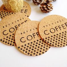 But First Coffee Drink Coasters  Set of 4  Cork by thetullebox
