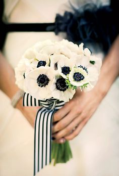 Modern White Anemone Wedding Bouquet