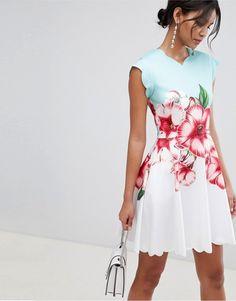 192e826eedd790 Ted Baker scalloped skater dress in nectar print