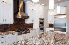 Granite kitchen countertops - Aran Brown Granite countertops with Eased edge profile.