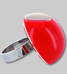 PYLONES - Dome ring MILK red
