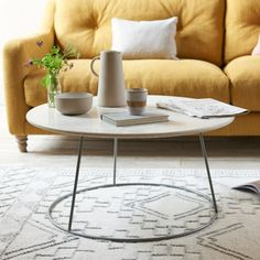 Because our Scamp coffee table is tough and easy to wipe clean, its terrazzo top is mucky pup-proof. We reckon it looks pretty classy too! Coffee Table Legs, Coffee Table Design, Pleated Curtains, Curtains With Blinds, Living Room Goals, Living Room Decor, Loaf Beds, Comfy Sofa, Family Room Decorating