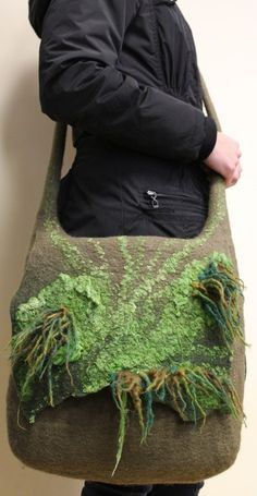 Wet felted messenger bag by Regina Doseth