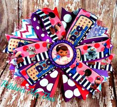 Doc McStuffins stacked pinwheel hair bow!
