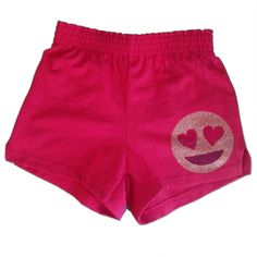 Soffe Smily Emoji w Heart-Shaped Eyes Rhinestone Camp Shorts