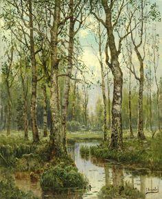 A Stream Running Through a Birch Wood, Simeon Fedorovich Fedorov.