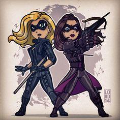 Chibi Black Canary and Huntress by Lord Mesa - Arrow