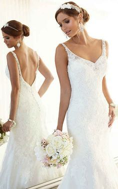 Vintage Wedding Dresses This blissful vintage inspired wedding dress from the Essense of Australia… - Mermaid wedding dresses with chapel train. Exclusive designer mermaid wedding dresses by Essense of Australia. Ivory Lace Wedding Dress, Vintage Inspired Wedding Dresses, Wedding Dresses With Straps, Fit And Flare Wedding Dress, Perfect Wedding Dress, Bridal Dresses, Wedding Gowns, Bridesmaid Dresses, Column Wedding Dresses