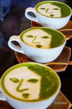 Japanese Green Tea latte art ;) by Yojiya Cafe via flickr