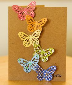 Hello card. Simple and cute butterflies