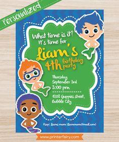 Bubble guppies birthday invitations for boys Gil by PrinterFairy