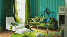 Green and Blue Living Room Idea Fresh Green Blue and Yellow Living Room Modern Interior Design Ideas Blue And Green Living Room, Living Room Turquoise, Bedroom Turquoise, Green Rooms, Living Room Colors, New Living Room, Living Room Modern, My New Room, Living Room Designs