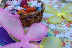 Decorate your own fairy wings with silk flowers
