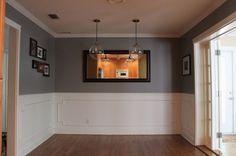 gray dining room- glidden's granite gray