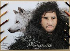 Desenho do Jon Snow e o seu lobo Fantasma finalmente terminado ❄ como ficou ?  Colored pencil drawing of Jon Snow , what do you think guys?
