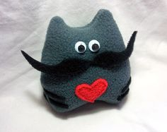 Handmade plush cat with mustache and heart  100 by Owlystore, $12.00