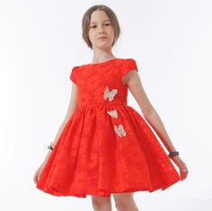 ROCHIE FETE ROSU CORAI CU MARGARETE Special Occasion, Girls Dresses, Vintage, Style, Fashion, Moda, Dresses Of Girls, Stylus, Little Girl Dresses