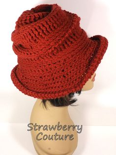 Crochet Hat Womens Hat Womens Crochet Hat Steampunk Hat Terra Cotta Hat VIRGINIA Wide Brim Hat Wide Brimmed Hat by strawberrycouture by #strawberrycouture on #Etsy